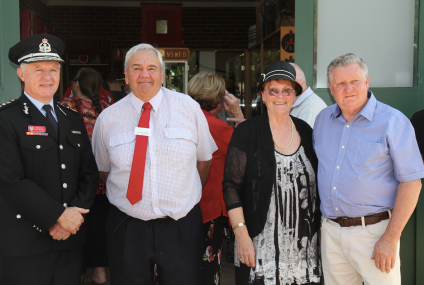 Commissioner of NSW Fire & Rescue Greg Mullins, Coolamon Shire Mayor John Seymour, Joanne and Chris Berry Coolamon Fire Museum managers
