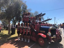 Marching girls on the fire engine