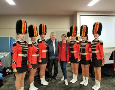 Marching girls with Chris and Joanne Berry